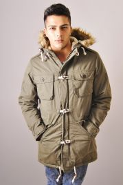 Khaki Parka With Fake Fur Trim